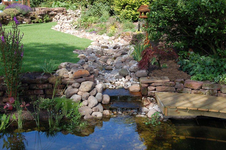 Large garden with severe drainage problems garden design for Wildlife pond design uk